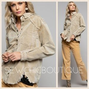 New! Distressed Out Corduroy Beige Top